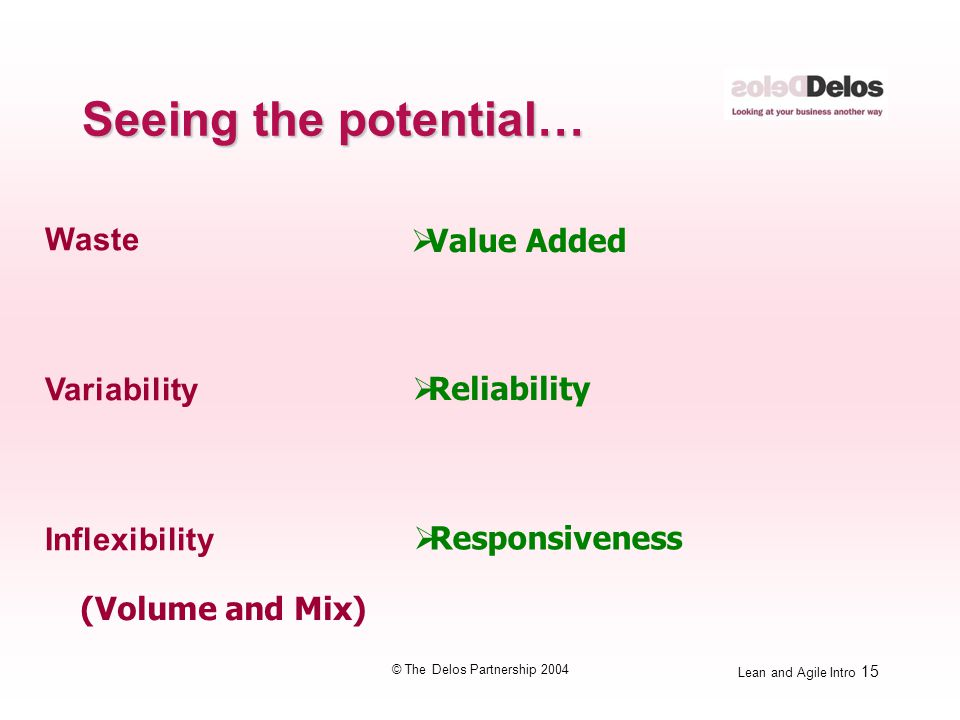 Lean and Agile Intro 15 © The Delos Partnership 2004 Waste Variability Inflexibility  Value Added  Reliability  Responsiveness (Volume and Mix) See