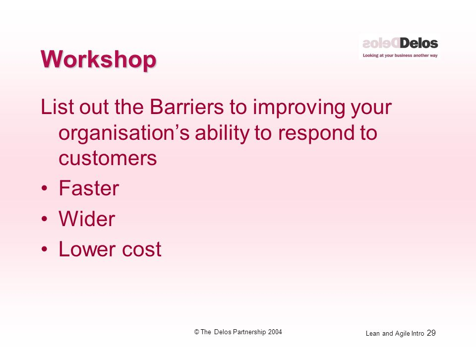 Lean and Agile Intro 29 © The Delos Partnership 2004 Workshop List out the Barriers to improving your organisation's ability to respond to customers F