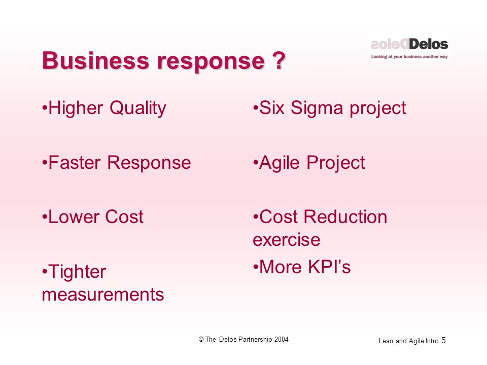 Lean and Agile Intro 5 © The Delos Partnership 2004 Business response ? Higher Quality Faster Response Lower Cost Tighter measurements Six Sigma proje