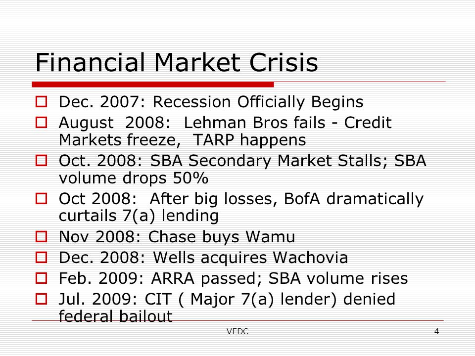 VEDC4 Financial Market Crisis  Dec.