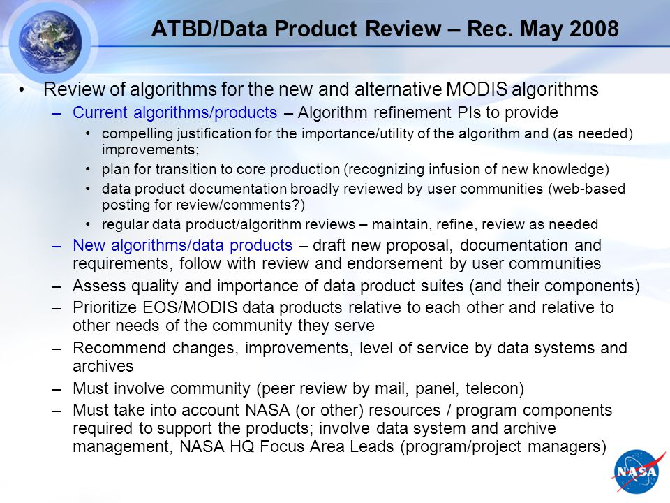 ATBD/Data Product Review – Rec.