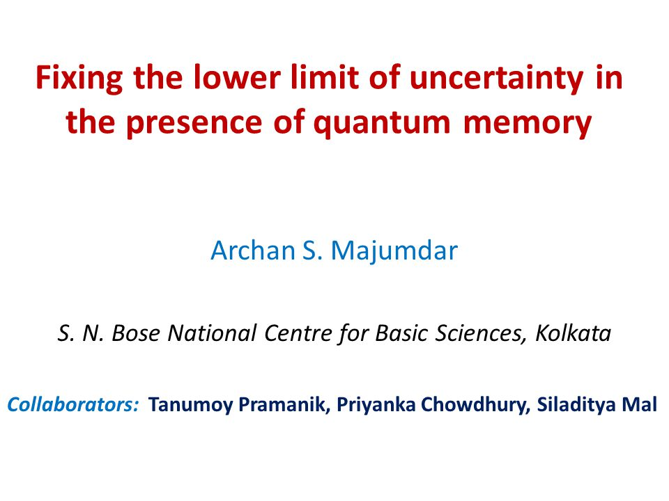 Fixing the lower limit of uncertainty in the presence of quantum memory Archan S.