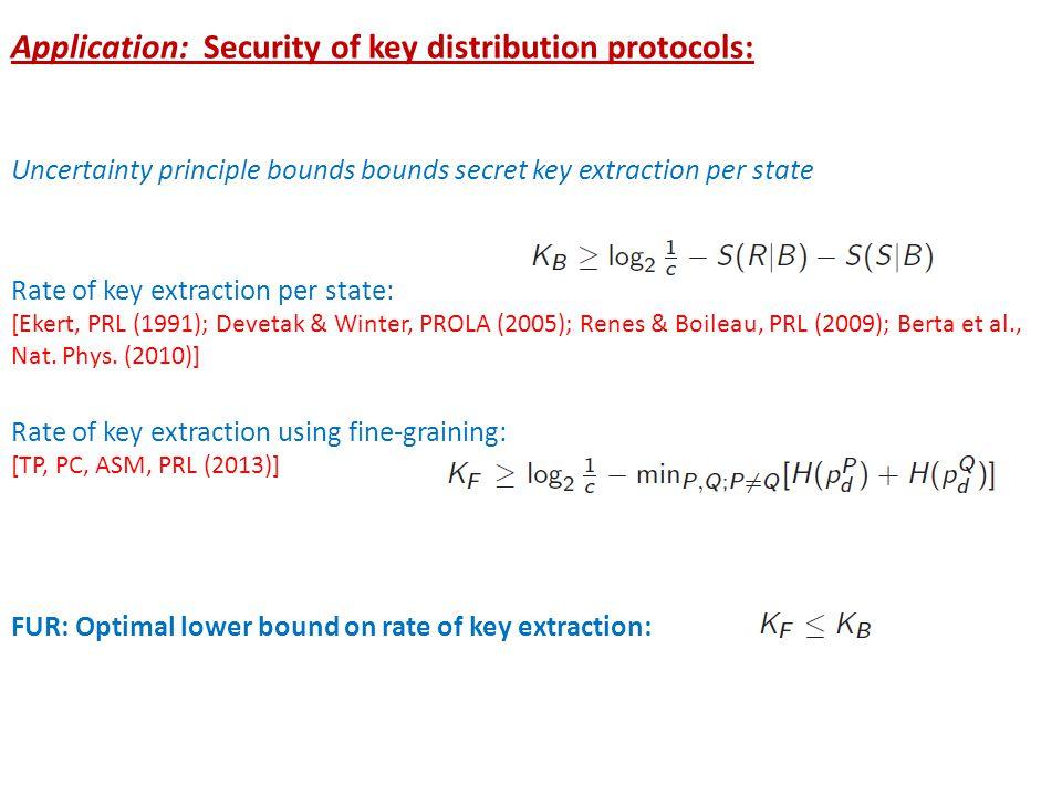 Application: Security of key distribution protocols: Uncertainty principle bounds bounds secret key extraction per state Rate of key extraction per state: [Ekert, PRL (1991); Devetak & Winter, PROLA (2005); Renes & Boileau, PRL (2009); Berta et al., Nat.