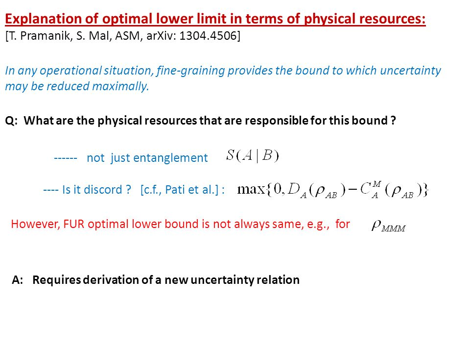 Explanation of optimal lower limit in terms of physical resources: [T.