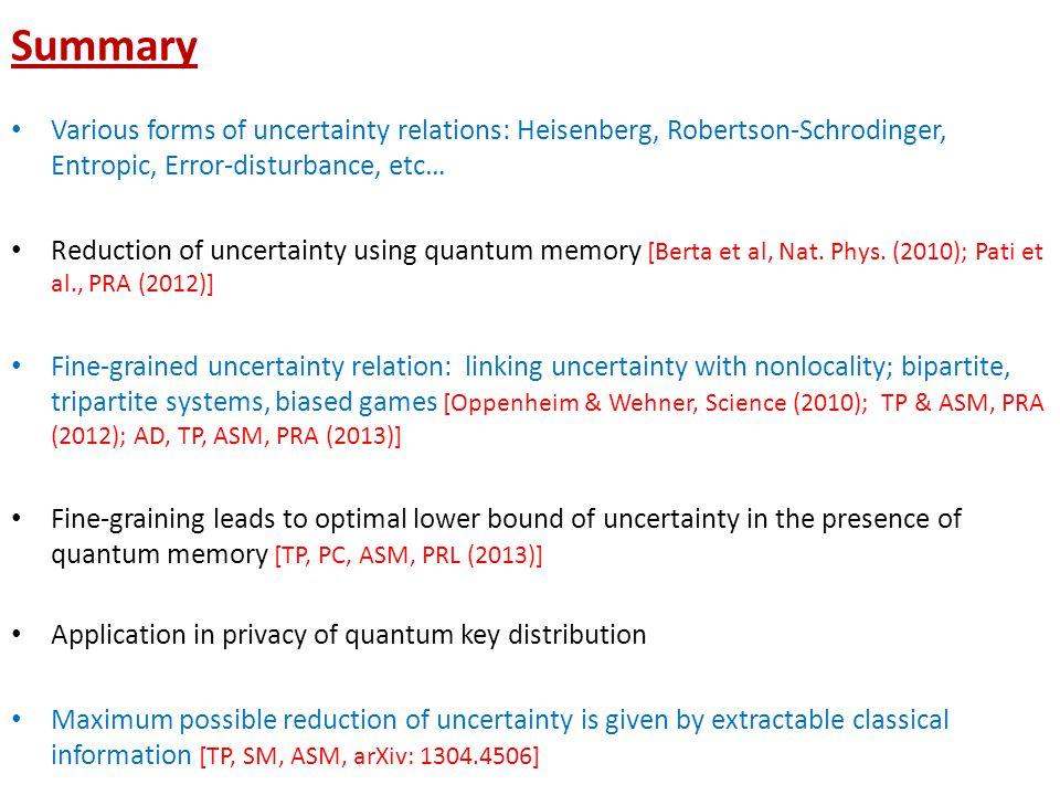 Summary Various forms of uncertainty relations: Heisenberg, Robertson-Schrodinger, Entropic, Error-disturbance, etc… Reduction of uncertainty using quantum memory [Berta et al, Nat.