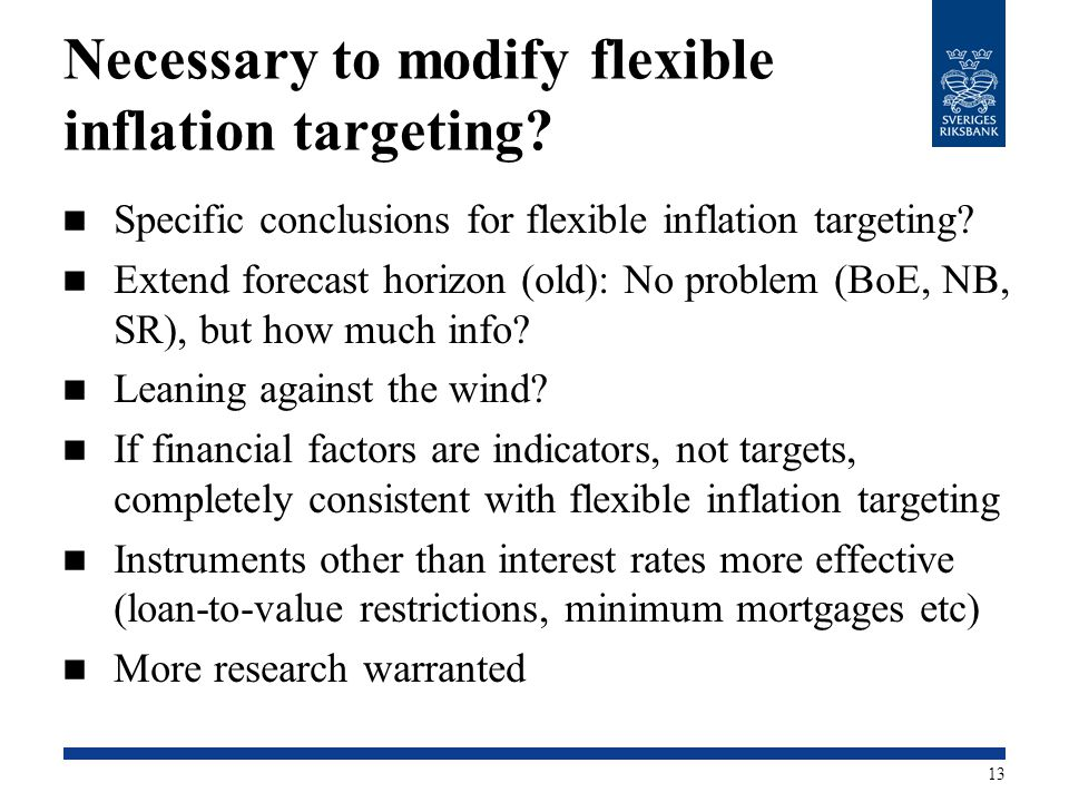 Necessary to modify flexible inflation targeting? Specific conclusions for flexible inflation targeting? Extend forecast horizon (old): No problem (Bo