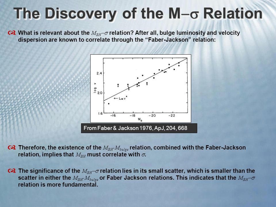 The Discovery of the M  Relation  What is relevant about the M BH  relation.