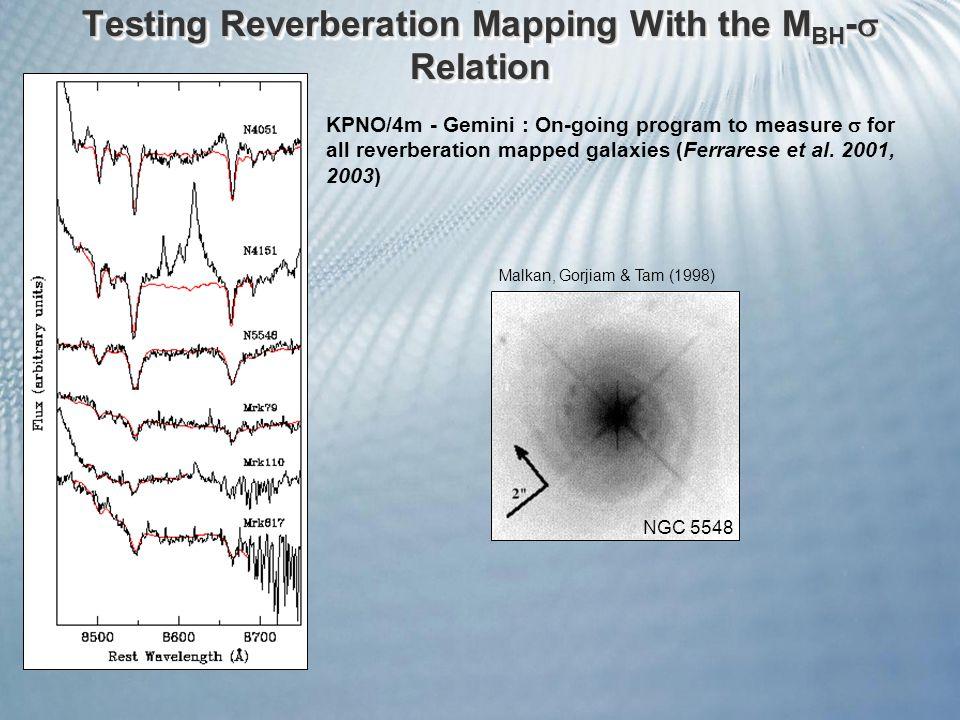 Malkan, Gorjiam & Tam (1998) NGC 5548 KPNO/4m - Gemini : On-going program to measure  for all reverberation mapped galaxies (Ferrarese et al.