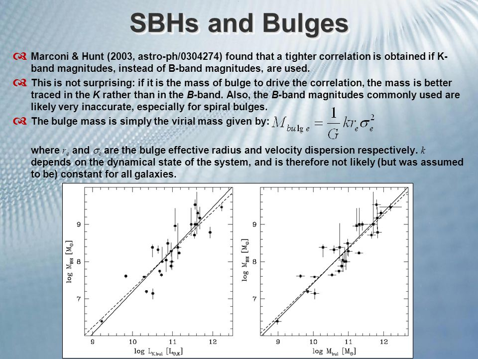 SBHs and Bulges  Marconi & Hunt (2003, astro-ph/0304274) found that a tighter correlation is obtained if K- band magnitudes, instead of B-band magnitudes, are used.