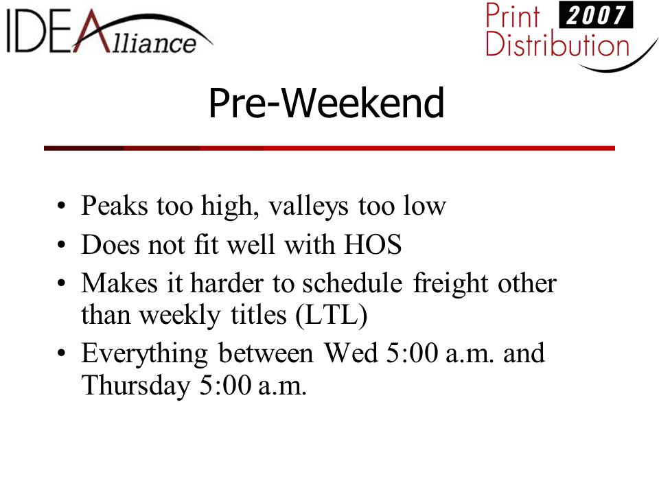 Pre-Weekend Peaks too high, valleys too low Does not fit well with HOS Makes it harder to schedule freight other than weekly titles (LTL) Everything between Wed 5:00 a.m.