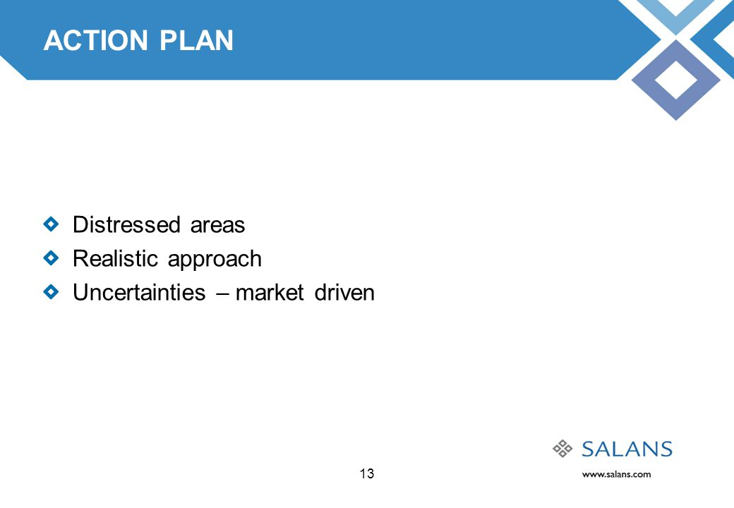 13 ACTION PLAN Distressed areas Realistic approach Uncertainties – market driven