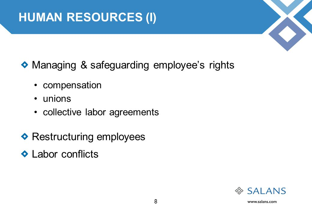 8 HUMAN RESOURCES (I) Managing & safeguarding employee's rights compensation unions collective labor agreements Restructuring employees Labor conflict