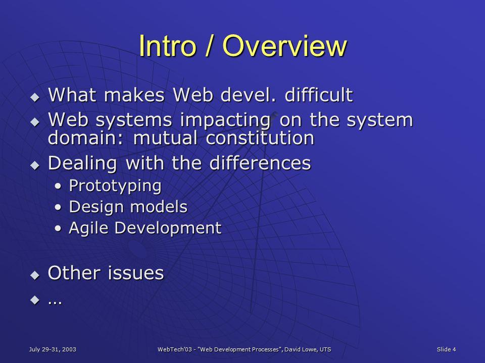 July 29-31, 2003 WebTech'03 -