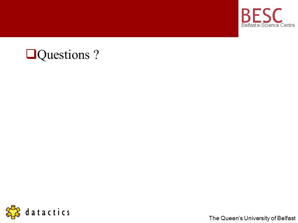 The Queen's University of Belfast  Questions ?