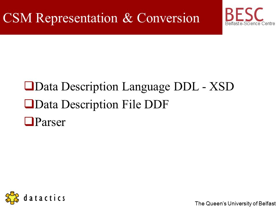 The Queen's University of Belfast CSM Representation & Conversion  Data Description Language DDL - XSD  Data Description File DDF  Parser