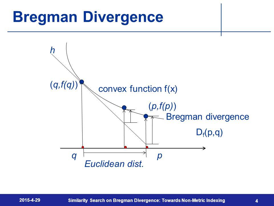 Bregman Divergence 2015-4-29 Similarity Search on Bregman Divergence: Towards Non-Metric Indexing 4 qp Euclidean dist.