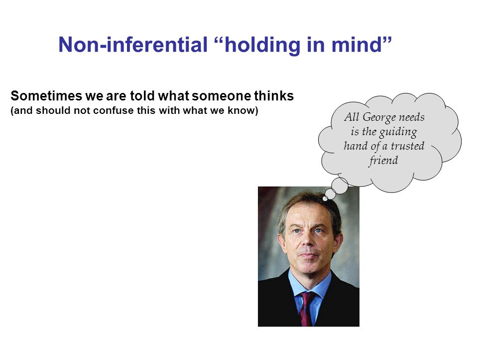 """Non-inferential """"holding in mind"""" Sometimes we are told what someone thinks (and should not confuse this with what we know) All George needs is the gu"""