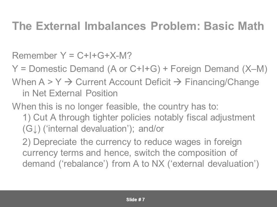 Slide # 7 The External Imbalances Problem: Basic Math Remember Y = C+I+G+X-M.
