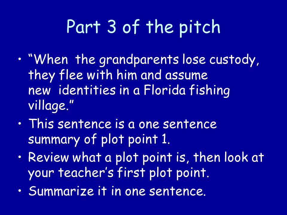 Part 3 of the pitch When the grandparents lose custody, they flee with him and assume new identities in a Florida fishing village. This sentence is a one sentence summary of plot point 1.