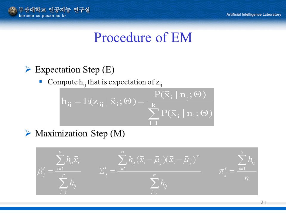 21 Procedure of EM  Expectation Step (E)  Compute h ij that is expectation of z ij  Maximization Step (M)
