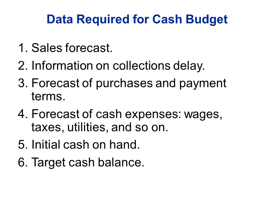 Data Required for Cash Budget 1.Sales forecast. 2.Information on collections delay. 3.Forecast of purchases and payment terms. 4.Forecast of cash expe