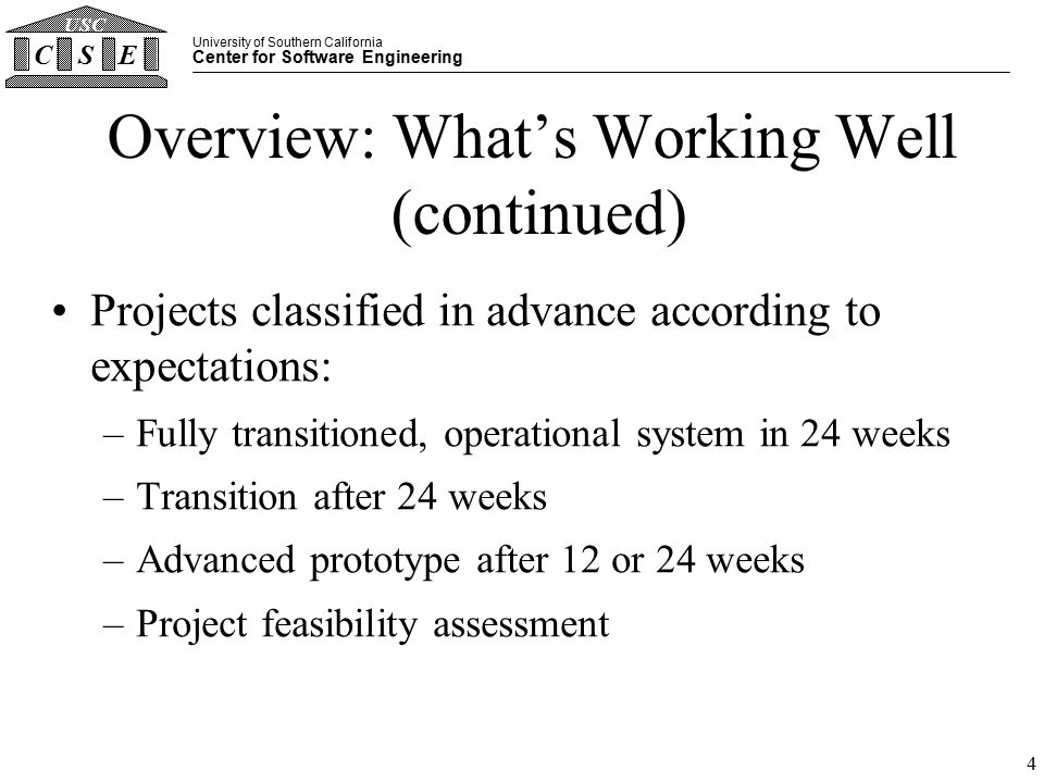 University of Southern California Center for Software Engineering CSE USC 4 Overview: What's Working Well (continued) Projects classified in advance according to expectations: –Fully transitioned, operational system in 24 weeks –Transition after 24 weeks –Advanced prototype after 12 or 24 weeks –Project feasibility assessment