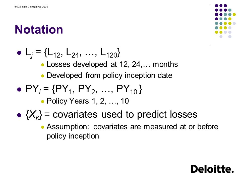 © Deloitte Consulting, 2004 16 Notation L j = {L 12, L 24, …, L 120 } Losses developed at 12, 24,… months Developed from policy inception date PY i = {PY 1, PY 2, …, PY 10 } Policy Years 1, 2, …, 10 {X k } = covariates used to predict losses Assumption: covariates are measured at or before policy inception