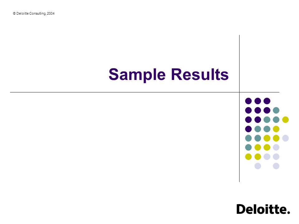 © Deloitte Consulting, 2004 Sample Results