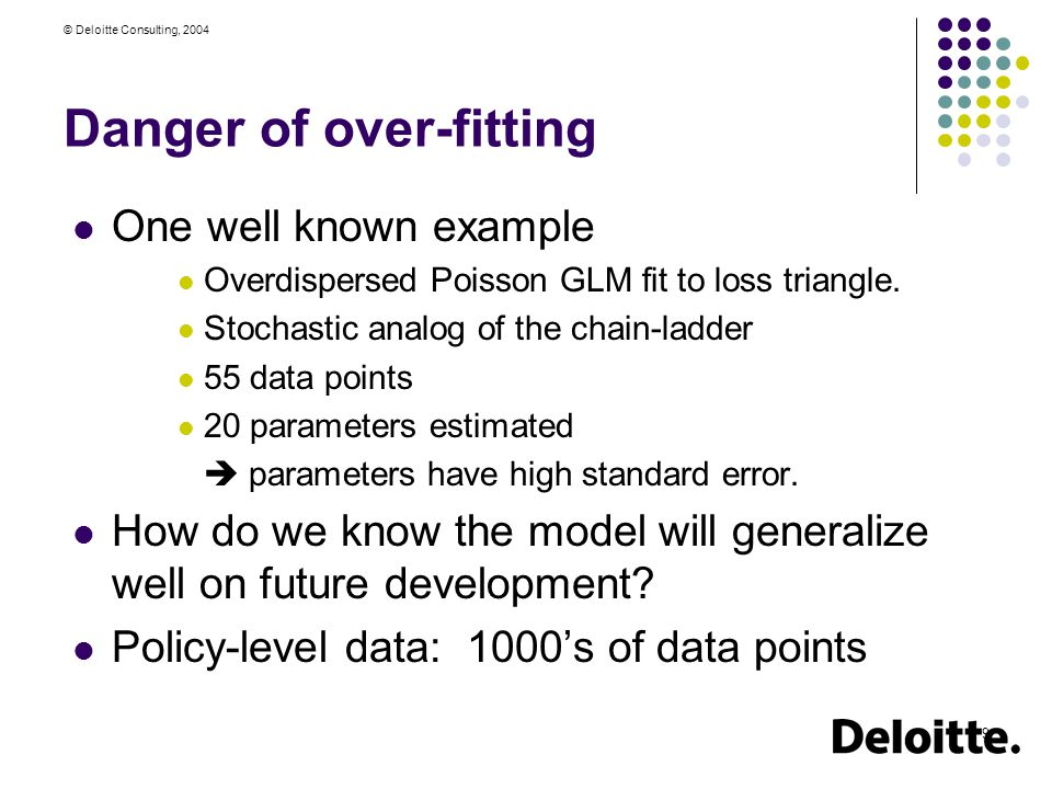 © Deloitte Consulting, 2004 9 Danger of over-fitting One well known example Overdispersed Poisson GLM fit to loss triangle.