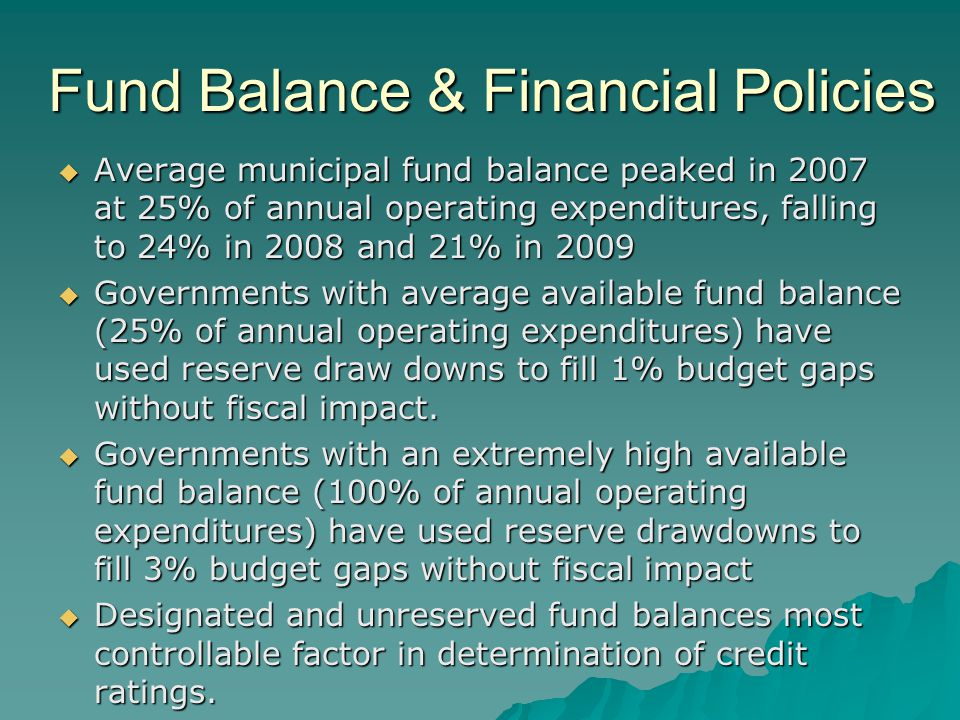 Fund Balance & Financial Policies  Average municipal fund balance peaked in 2007 at 25% of annual operating expenditures, falling to 24% in 2008 and 21% in 2009  Governments with average available fund balance (25% of annual operating expenditures) have used reserve draw downs to fill 1% budget gaps without fiscal impact.