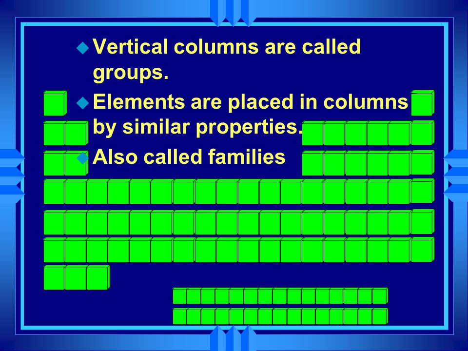 u Vertical columns are called groups. u Elements are placed in columns by similar properties.