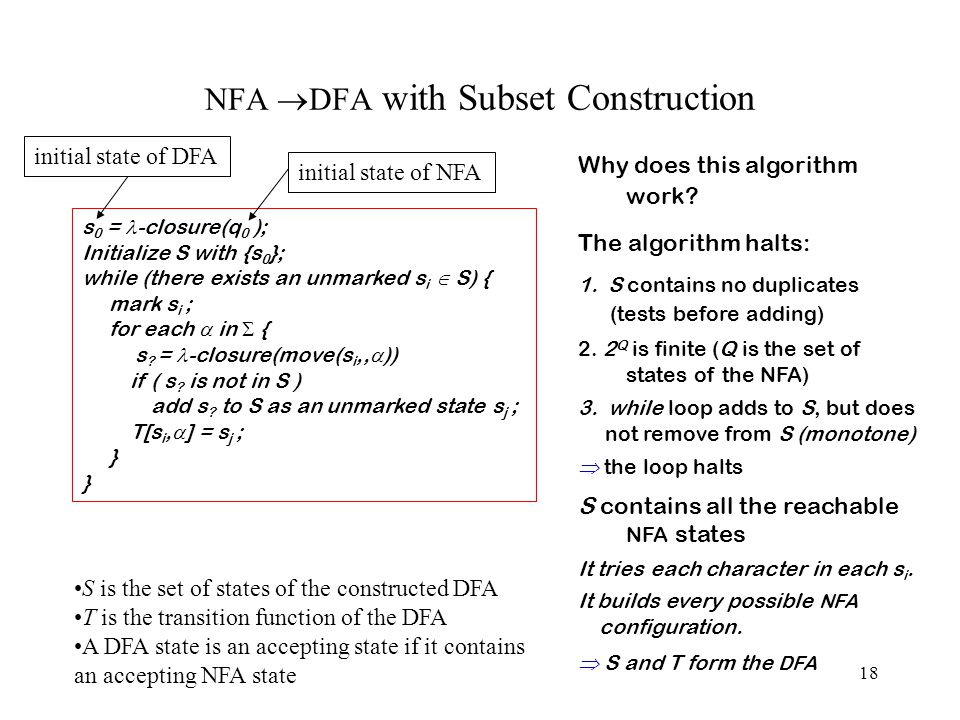18 NFA  DFA with Subset Construction s 0 = -closure(q 0 ); Initialize S with {s 0 }; while (there exists an unmarked s i  S) { mark s i ; for each  in  { s .