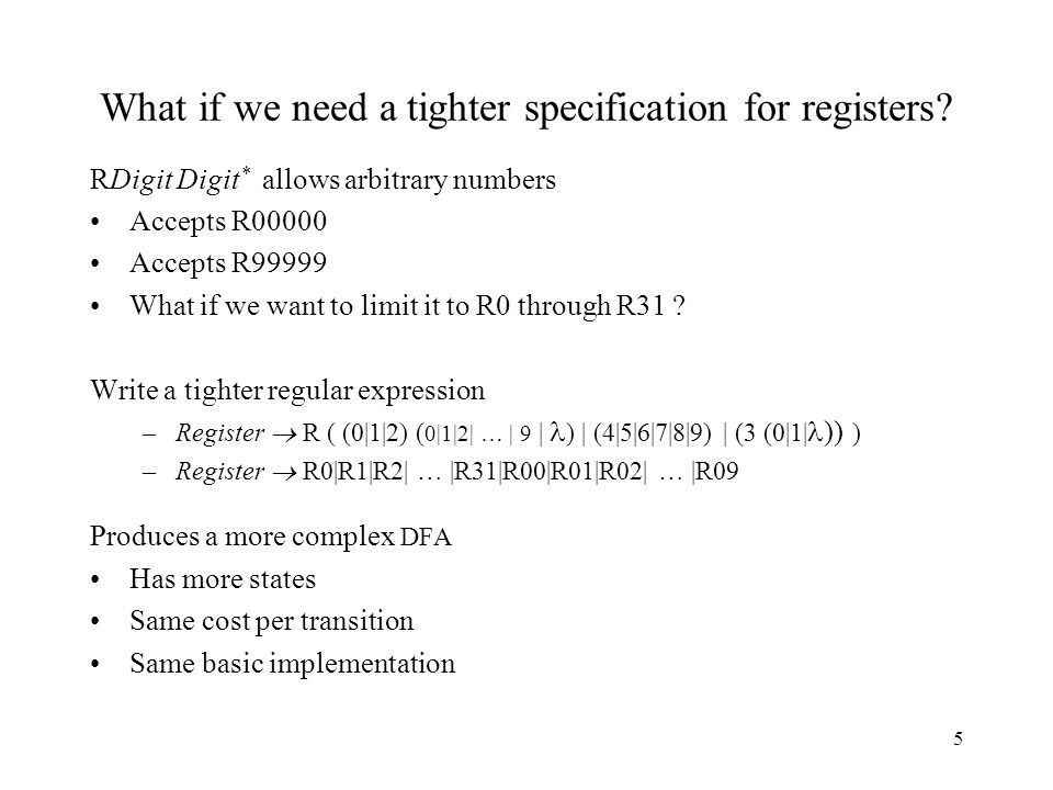 5 RDigit Digit * allows arbitrary numbers Accepts R00000 Accepts R99999 What if we want to limit it to R0 through R31 .