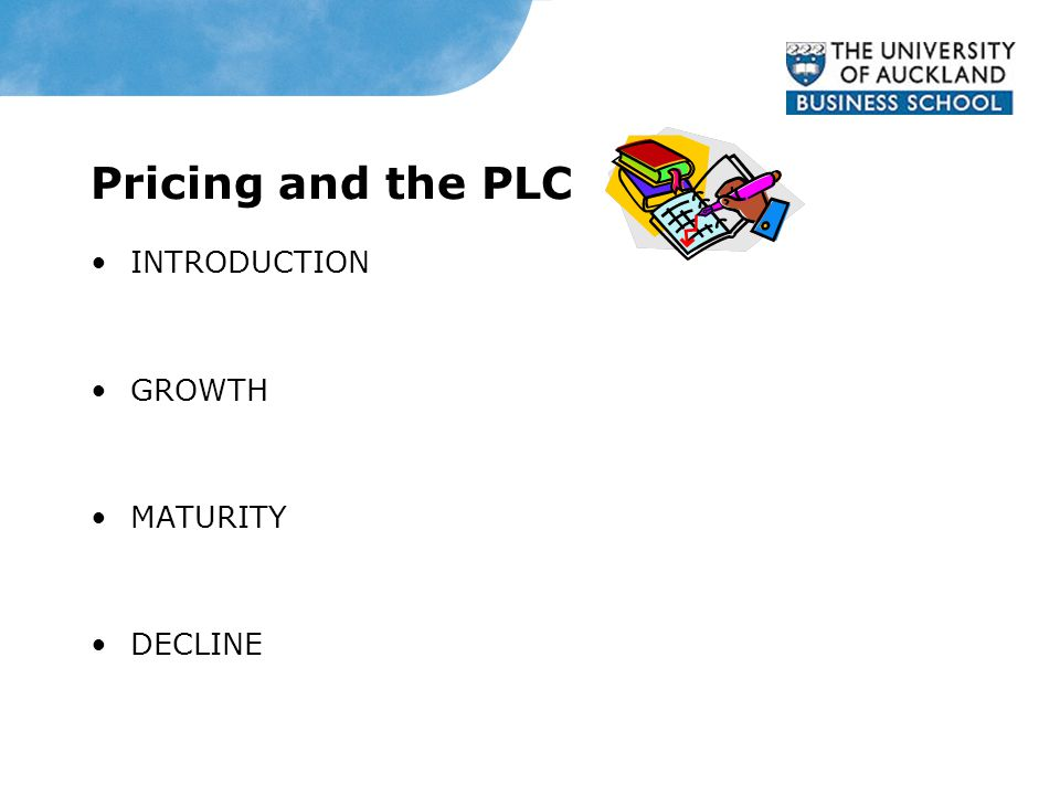 Pricing and the PLC INTRODUCTION GROWTH MATURITY DECLINE