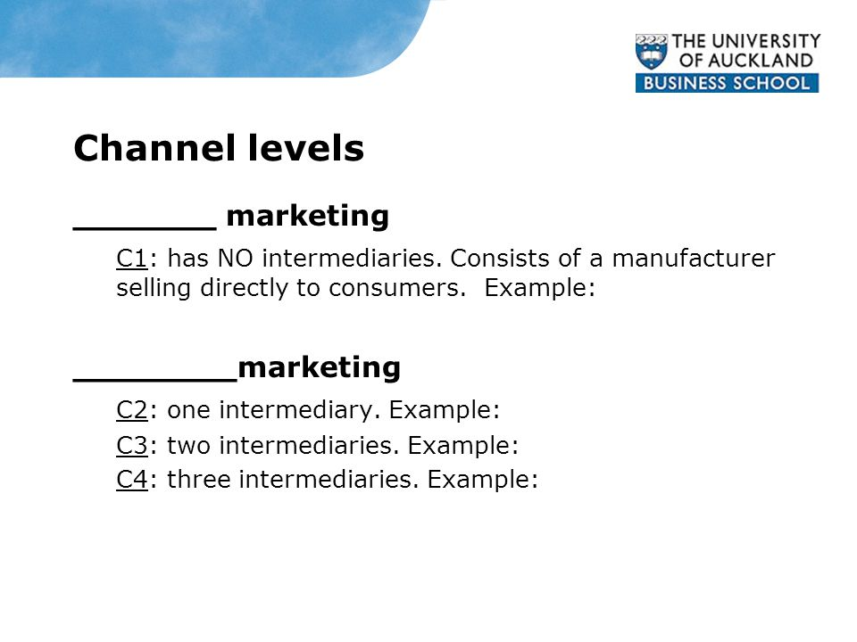 Channel levels _______ marketing C1: has NO intermediaries.