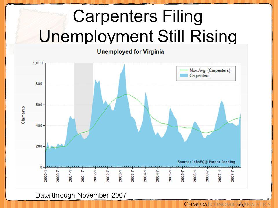 Carpenters Filing Unemployment Still Rising Data through November 2007