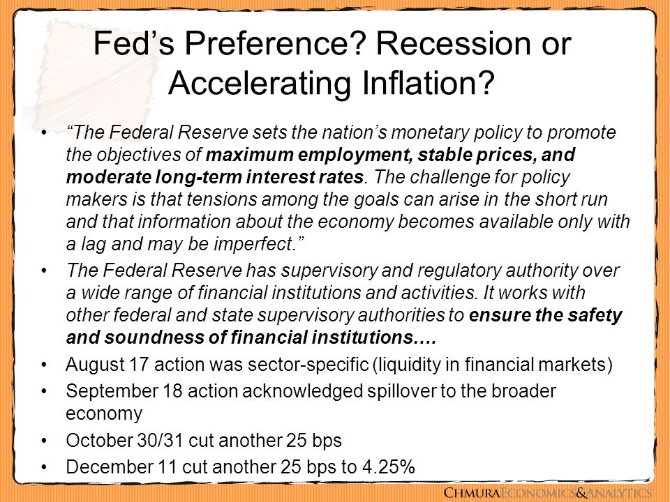 "Fed's Preference? Recession or Accelerating Inflation? ""The Federal Reserve sets the nation's monetary policy to promote the objectives of maximum emp"