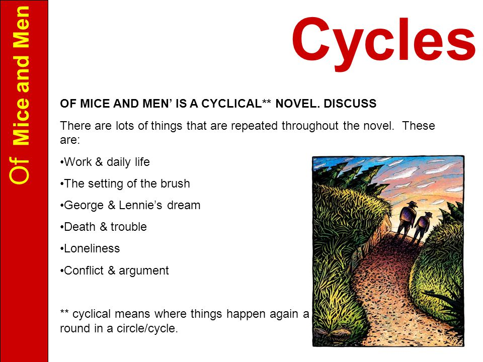 Of Mice and Men OF MICE AND MEN' IS A CYCLICAL** NOVEL.
