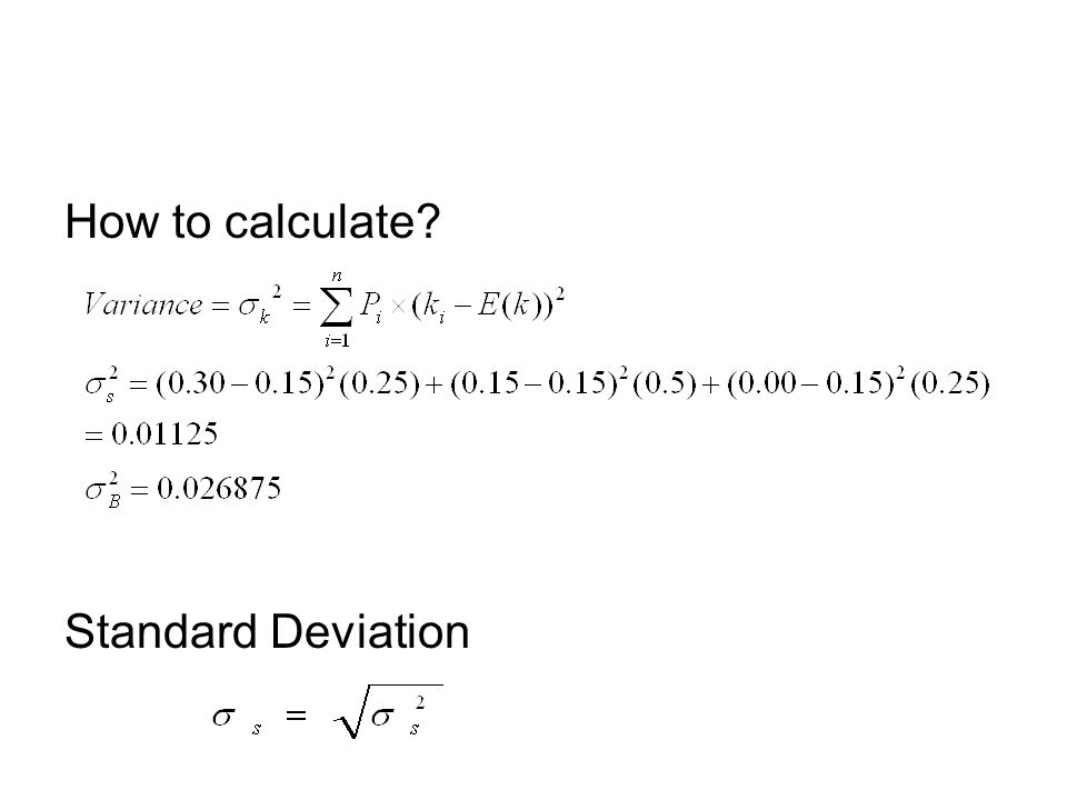 How to calculate? Standard Deviation