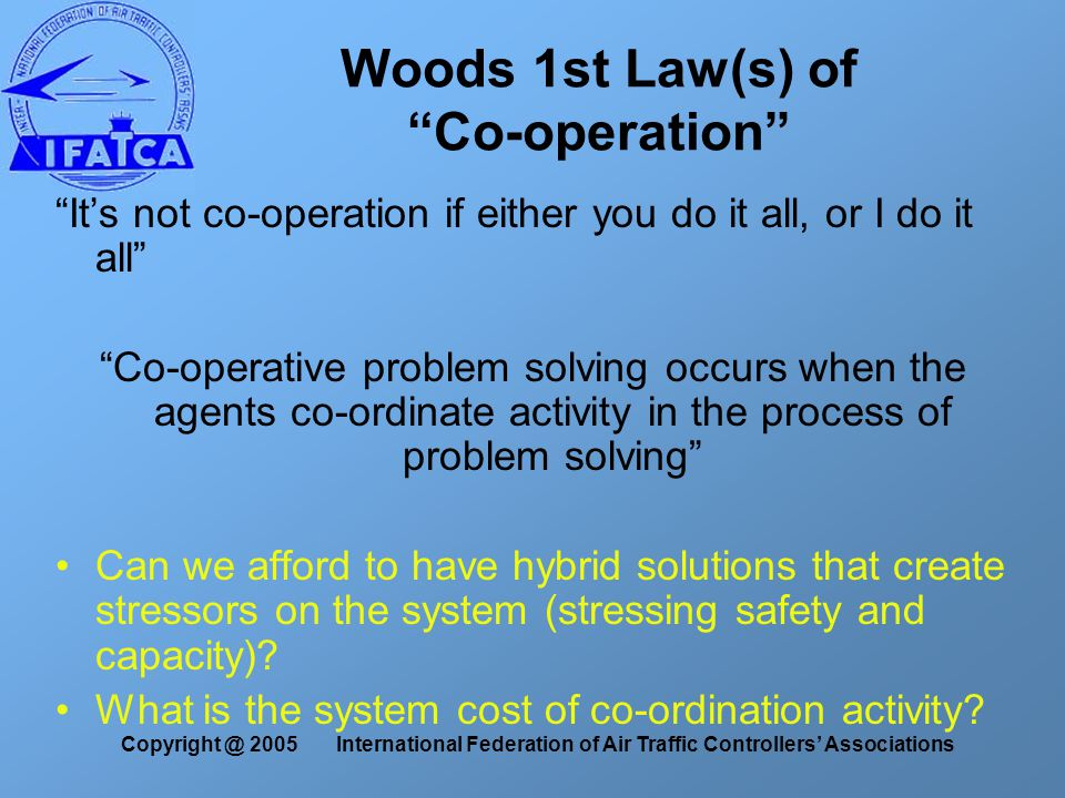 Copyright @ 2005 International Federation of Air Traffic Controllers' Associations Woods 1st Law(s) of Co-operation It's not co-operation if either you do it all, or I do it all Co-operative problem solving occurs when the agents co-ordinate activity in the process of problem solving Can we afford to have hybrid solutions that create stressors on the system (stressing safety and capacity).