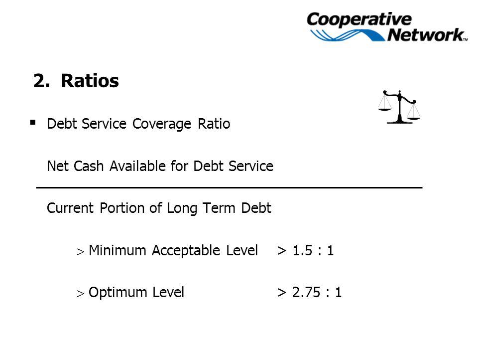  Debt Service Coverage Ratio Net Cash Available for Debt Service Current Portion of Long Term Debt  Minimum Acceptable Level > 1.5 : 1  Optimum Lev