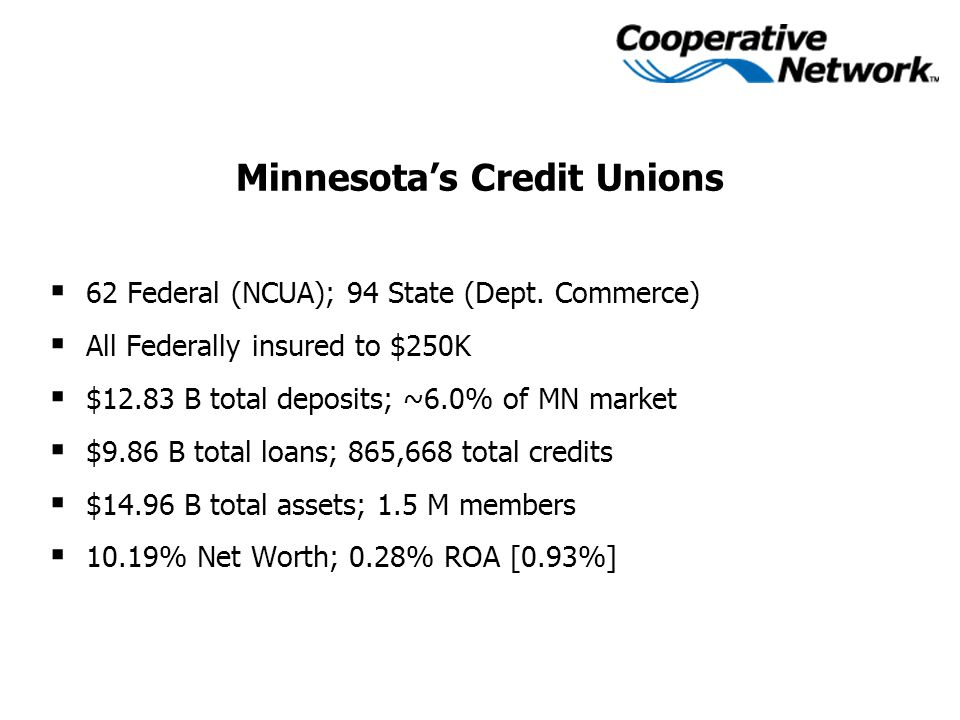 Minnesota's Credit Unions  62 Federal (NCUA); 94 State (Dept.