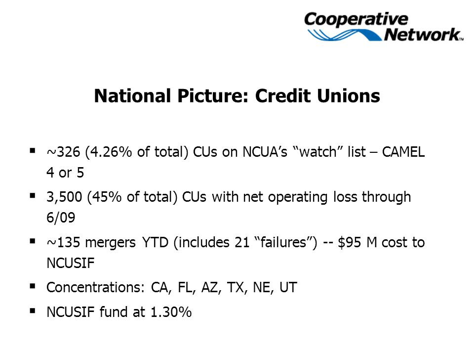 National Picture: Credit Unions  ~326 (4.26% of total) CUs on NCUA's watch list – CAMEL 4 or 5  3,500 (45% of total) CUs with net operating loss through 6/09  ~135 mergers YTD (includes 21 failures ) -- $95 M cost to NCUSIF  Concentrations: CA, FL, AZ, TX, NE, UT  NCUSIF fund at 1.30%