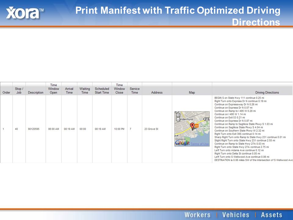 Print Manifest with Traffic Optimized Driving Directions