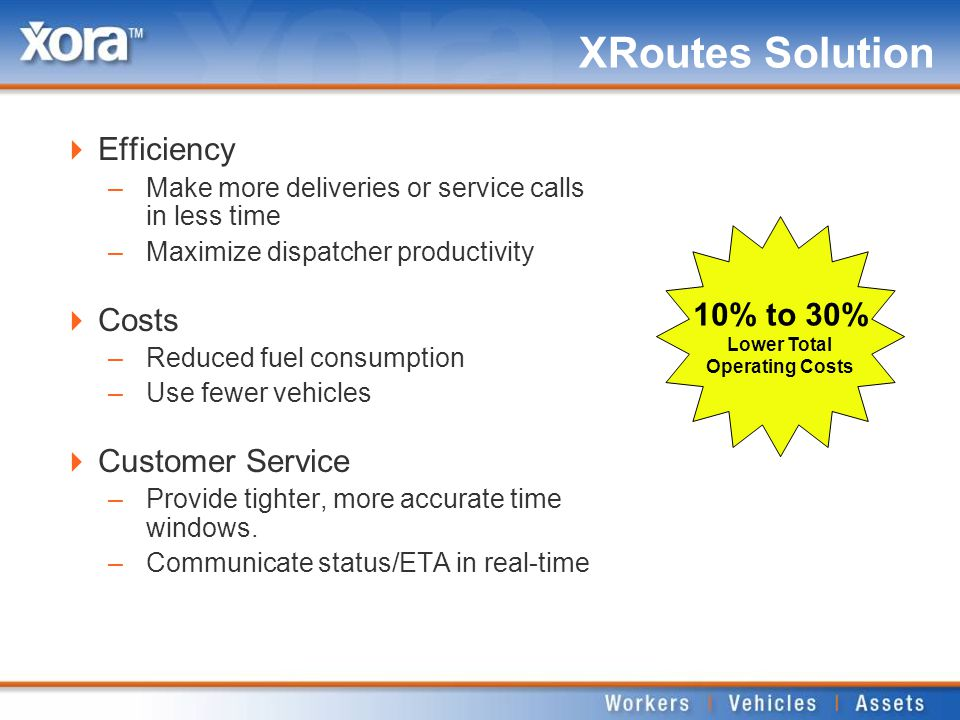 XRoutes Solution  Efficiency –Make more deliveries or service calls in less time –Maximize dispatcher productivity  Costs –Reduced fuel consumption –Use fewer vehicles  Customer Service –Provide tighter, more accurate time windows.