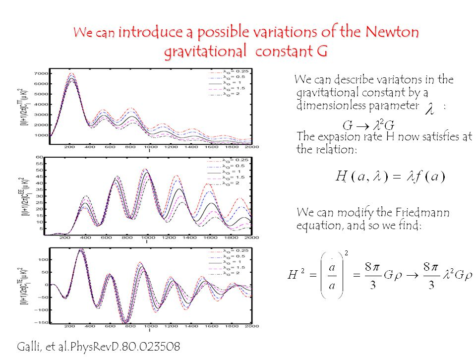 We can describe variatons in the gravitational constant by a dimensionless parameter : The expasion rate H now satisfies at the relation: We can modify the Friedmann equation, and so we find: We can introduce a possible variations of the Newton gravitational constant G Galli, et al.PhysRevD.80.023508