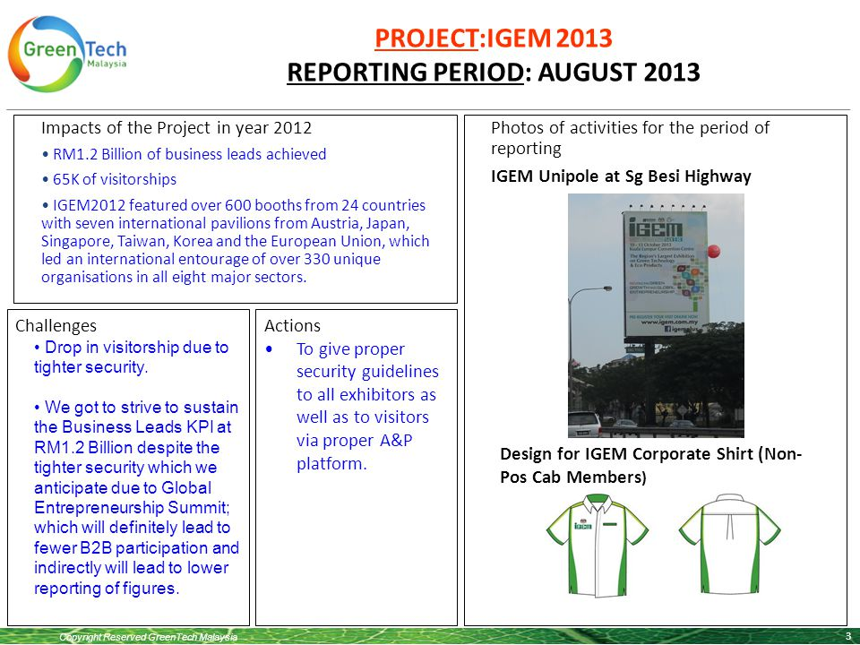 Copyright Reserved GreenTech Malaysia PROJECT:IGEM 2013 REPORTING PERIOD: AUGUST 2013 3 Impacts of the Project in year 2012 RM1.2 Billion of business leads achieved 65K of visitorships IGEM2012 featured over 600 booths from 24 countries with seven international pavilions from Austria, Japan, Singapore, Taiwan, Korea and the European Union, which led an international entourage of over 330 unique organisations in all eight major sectors.