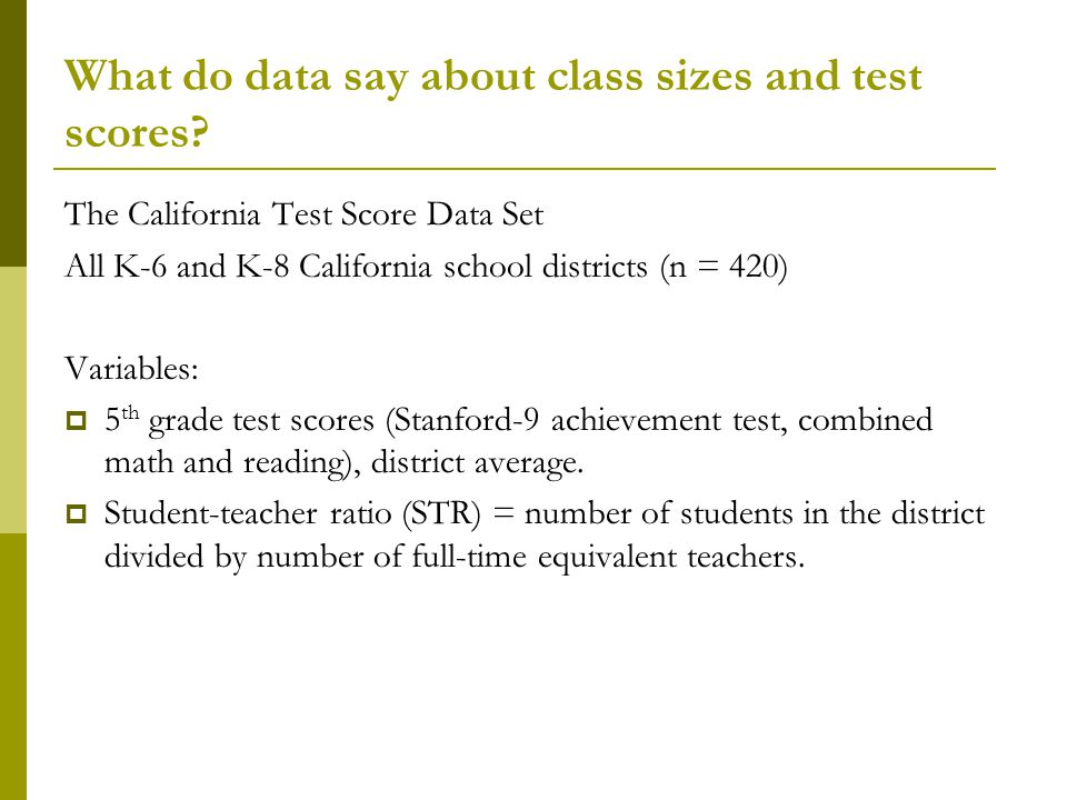 What do data say about class sizes and test scores.