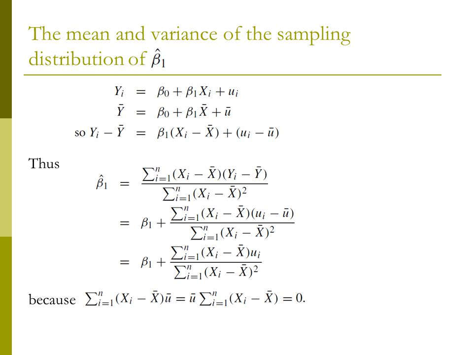 The mean and variance of the sampling distribution of Thus because