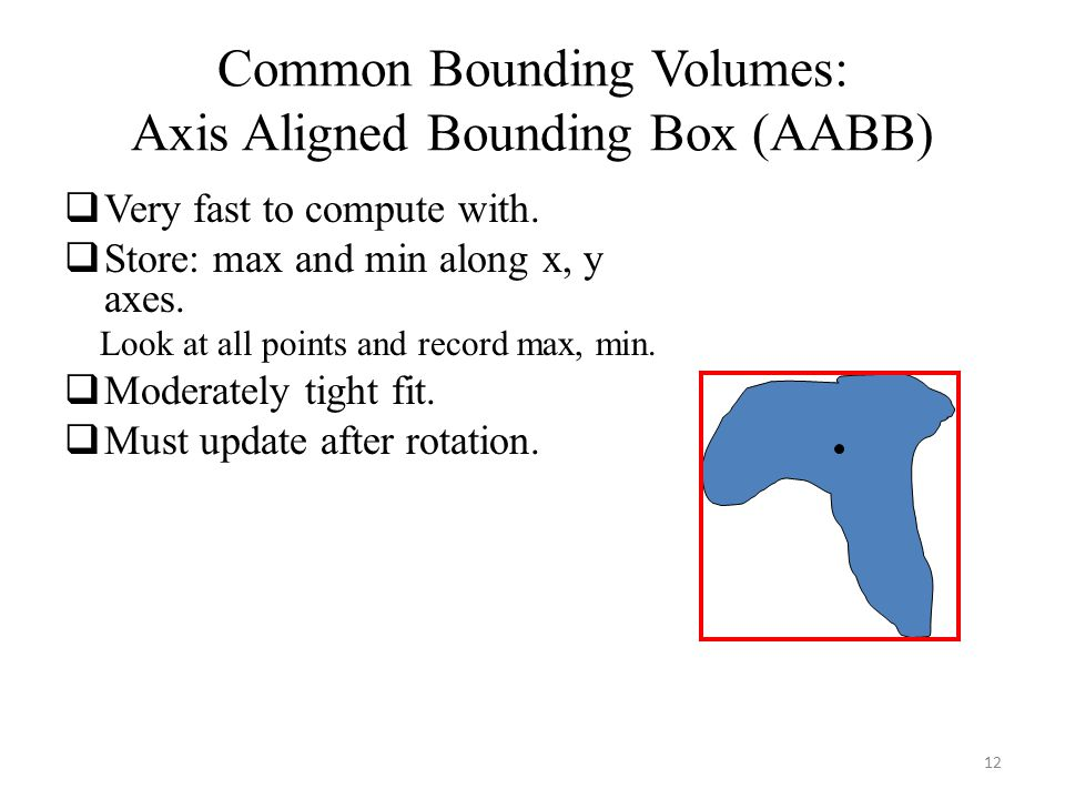 Common Bounding Volumes: Axis Aligned Bounding Box (AABB)  Very fast to compute with.  Store: max and min along x, y axes. Look at all points and re